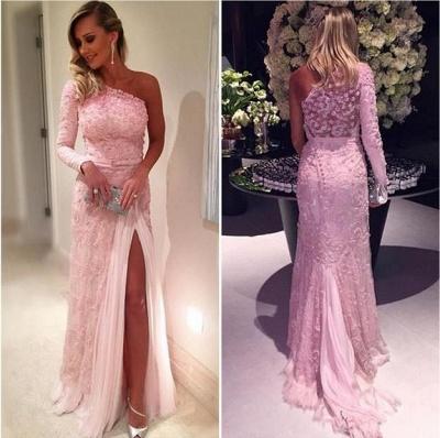 Split Lace Long-Sleeve Elegant Pink Evening Dresses_3