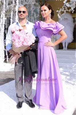 Off-The-Shoulder Elegant Ruffles Long Cheap Lavender Evening Dress_3