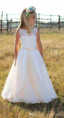 Sweet Floor Length Lace White Flower Girl Dresses with Sash_3