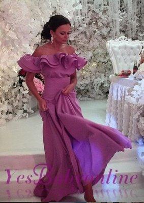 Off-The-Shoulder Elegant Ruffles Long Cheap Lavender Evening Dress_5
