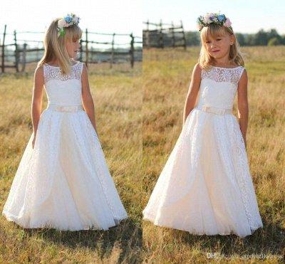 Sweet Floor Length Lace White Flower Girl Dresses with Sash_4