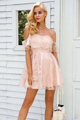 Cute Pink Homecoming Dresses Off-the-Shoulder Short Graduation Dress_4