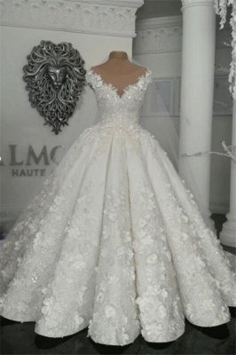 Gorgeous Sleeveless Crystal Ball Gown Wedding Dresses  with Handmade Flowers_1