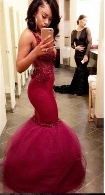 Sexy V-neck Mermaid Lace Appliques Prom Dresses_1