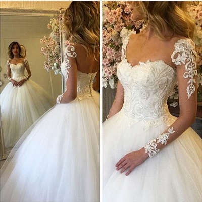 Lace-up Charming Lace Ball-Gown Long Sleevess Wedding Dress_3