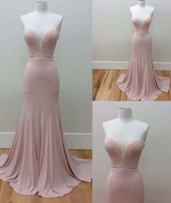 Simple Sleeveless Mermaid Sweetheart-Neck Pink Long Prom Dresses_3