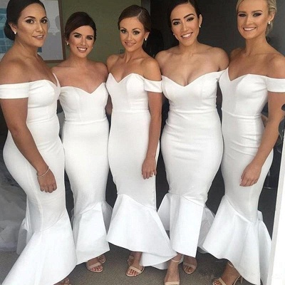 Modern Hi-Lo Mermaid Bridesmaid Dresses | Chic Simple Sleeveless Wedding Party Dresses_4