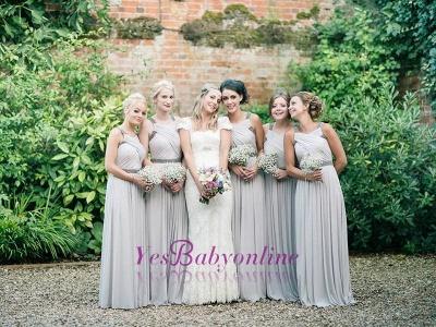 Sliver Ruffles Floor-Length Chiffon Beading Elegant Bridesmaid Dresses_1