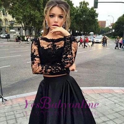 Two-Piece Black A-line Long-Sleeves Long Prom Dresses_1
