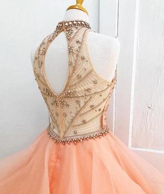 Beading High Neck Elegant Ball Gown Sleeveless Dresses Prom Evening Dresses_4