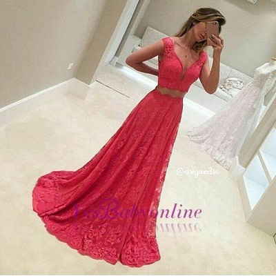 Sexy Mermaid Long Two-Piece V-Neck Sleeveless Red Lace Appliques Prom Dresses_1
