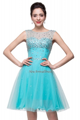 Cheap Open Back Sleeveless Chiffon Homecoming Dress Crystal Beads Tulle Short Prom Dress in Stock_6