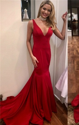 Simple Red Mermaid Evening Dresses | Sexy Open Back Long Prom Dresses_1