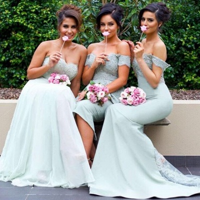 Off-the-Shoulder Gorgeous Lace Mermaid Bridesmaid Dress_3