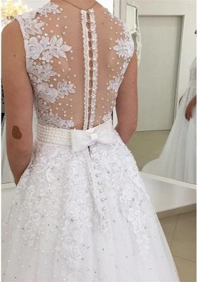 Glamorous Bowknot Appliques Beadings Lace V-Neck Wedding Dresses_4