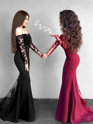 Red Lace Prom Dress 2019   Long Mermaid Party Gowns_1