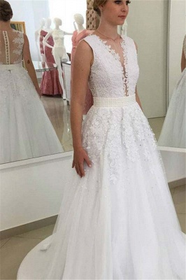 Glamorous Bowknot Appliques Beadings Lace V-Neck Wedding Dresses_2