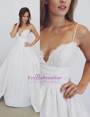 Glamorous  A-Line Lace Spaghetti-Straps Wedding Dress_1