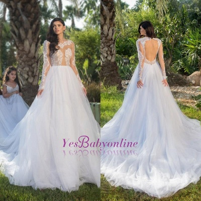 Long Sleeves Tulle Stylish A-line Lace-appliques Wedding Dress_1