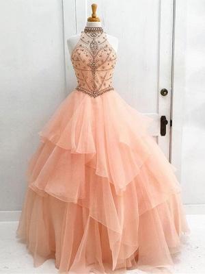 Beading High Neck Elegant Ball Gown Sleeveless Dresses Prom Evening Dresses_2