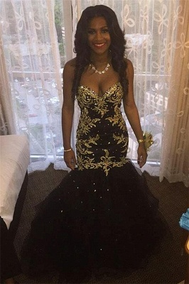 Black Sweetheart Mermaid Appliques Gold Beaded Sexy Popular Tulle Prom Dresses_2