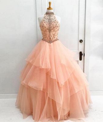 Beading High Neck Elegant Ball Gown Sleeveless Dresses Prom Evening Dresses_5