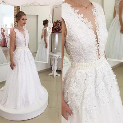 Glamorous Bowknot Appliques Beadings Lace V-Neck Wedding Dresses_3