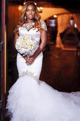 Jewel Short Sleeves Mermaid Wedding Dresses with Tiered Tulle Train_1