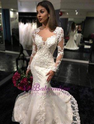 Mermaid Sheer-Back Long-Sleeves Charming Mermaid Tulle Appliques Bridal Dresses_1