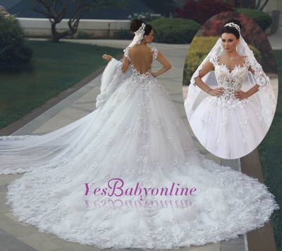 Luxurious Lace Sleeveless Appliques Princess Wedding Dress_1