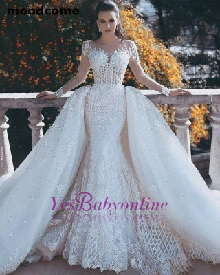 Glamorous Lace Mermaid Wedding Dresses | Long Sleeves Overskirts Bridal Gowns_1