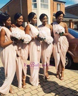 Front-Split A-line Long One-Shoulder Sleeveless Elegant Bridesmaid Dress_1