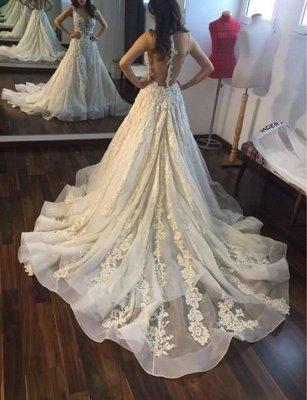 A-line Wedding Dresses V-Neck Flowers Ruffles Charming Bridal Gowns_3