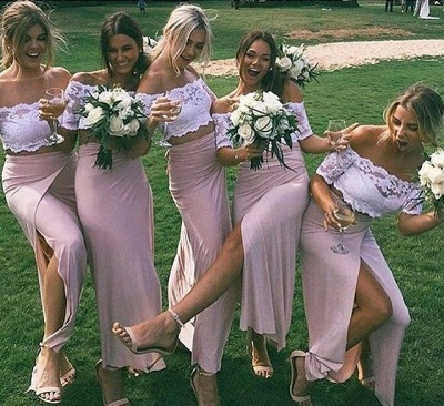 Side-Slit Lace Pink Sleeves Two-Piece Chic Short Bridesmaid Dresses_3