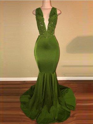 Elegant Mermaid Green Prom Dresses | Deep V-Neck Beaded Formal Dresses_2