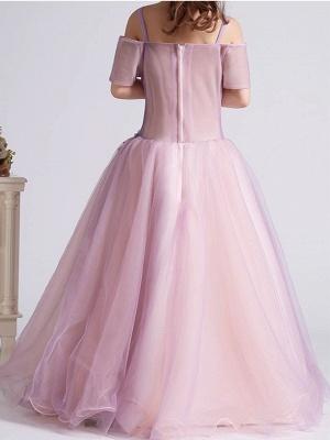 Lovely A-Line Tulle Short Sleeves Spaghetti Straps Flower Girl Dress with Flowers_3