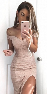 Sexy Lace Mermaid Prom Dresses Off-the-Shoulder Side Slit Evening Gowns_4