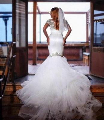 Jewel Short Sleeves Mermaid Wedding Dresses with Tiered Tulle Train_2