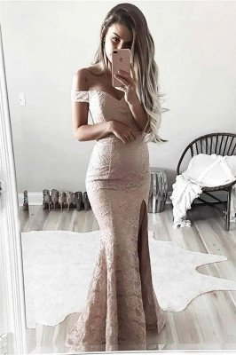 Sexy Lace Mermaid Prom Dresses Off-the-Shoulder Side Slit Evening Gowns_3