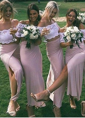 Side-Slit Lace Pink Sleeves Two-Piece Chic Short Bridesmaid Dresses_2