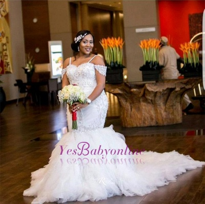Glamorous Cap-Sleeve Appliques Plus-Size Lace Mermaid Wedding Dress_1