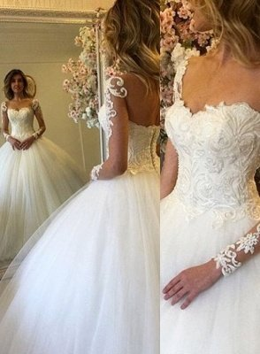 Lace-up Charming Lace Ball-Gown Long Sleevess Wedding Dress_2