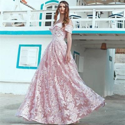 Elegant Pink Off Shoulder Evening Dresses Cheap | A-Line Lace Long Formal Dress_3