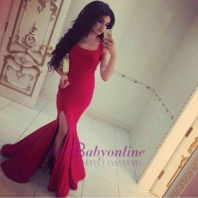 Simple Square-Neck Side-Slit Straps Red Sexy Mermaid Evening Gowns_1