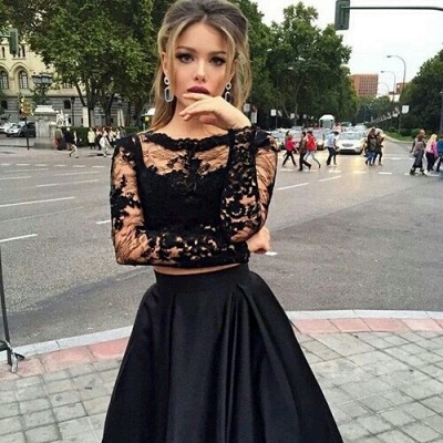 Two-Piece Black A-line Long-Sleeves Long Prom Dresses_3