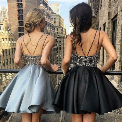 Sexy Straps V-Neck Cocktail Dresses | Sleeveless Beaded Homecoming Dresses_4
