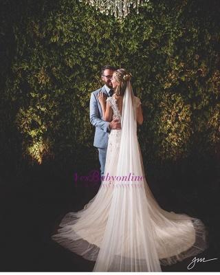 A-Line Tulle Glamorous Lace-Applique Wedding Dresses_1