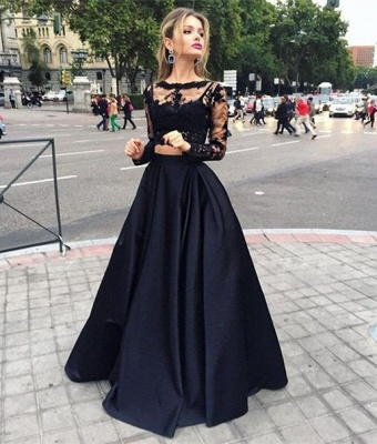 Two-Piece Black A-line Long-Sleeves Long Prom Dresses_5