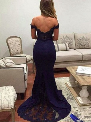 Mermaid Lace Backless Off-The-Shoulder Evening Appliques Dresses Sexy Prom Dresses_3