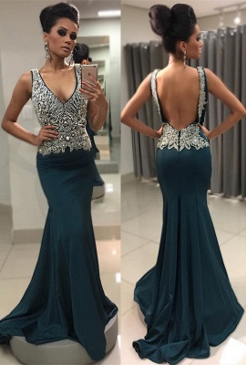 Sleeveless Crystal Backless Sexy V-Neck Mermaid Prom Dress_2